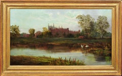 Eton College and Chapel and the Banks of the River Thames.Victorian Oil Painting