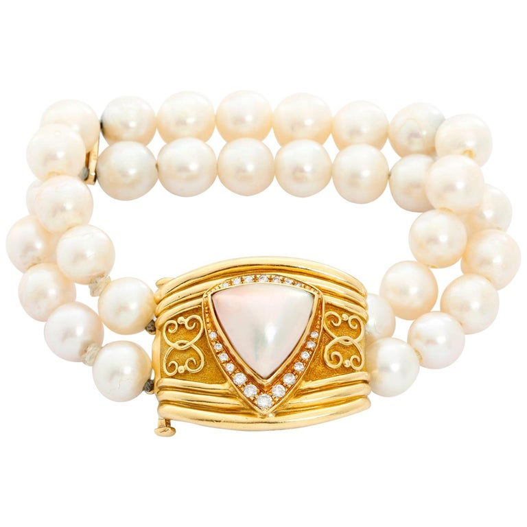Robert Whiteside Diamond and Cultured Pearl Gold Bracelet For Sale