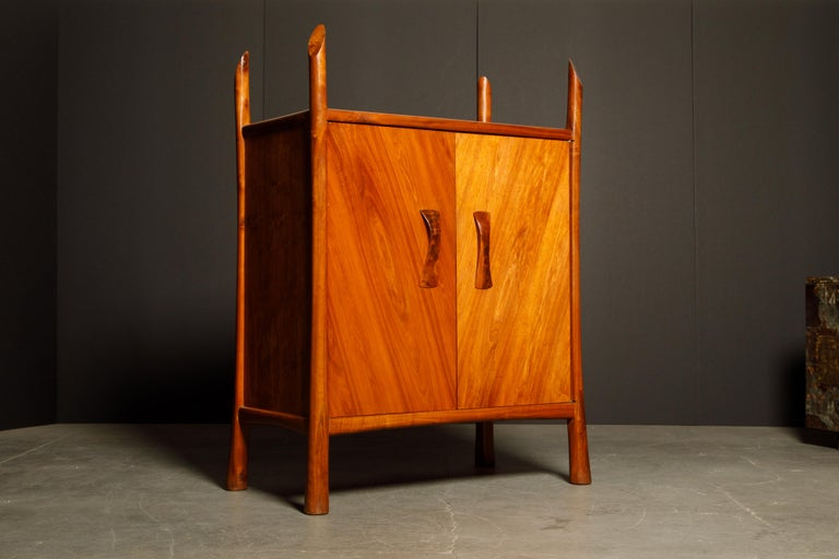 American Robert Whitley Sculptural Walnut Studio Craftsman Cabinet, New Hope PA, 1970s For Sale