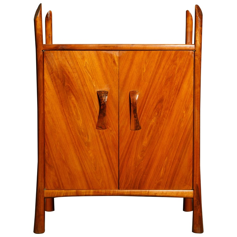 Robert Whitley Sculptural Walnut Studio Craftsman Cabinet, New Hope PA, 1970s For Sale