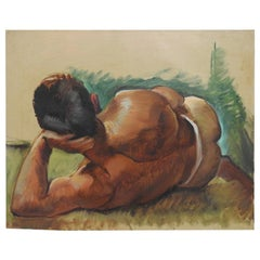 "Robert Whitmore ""Male at Rest"" Oil Painting, Early 20th Century"