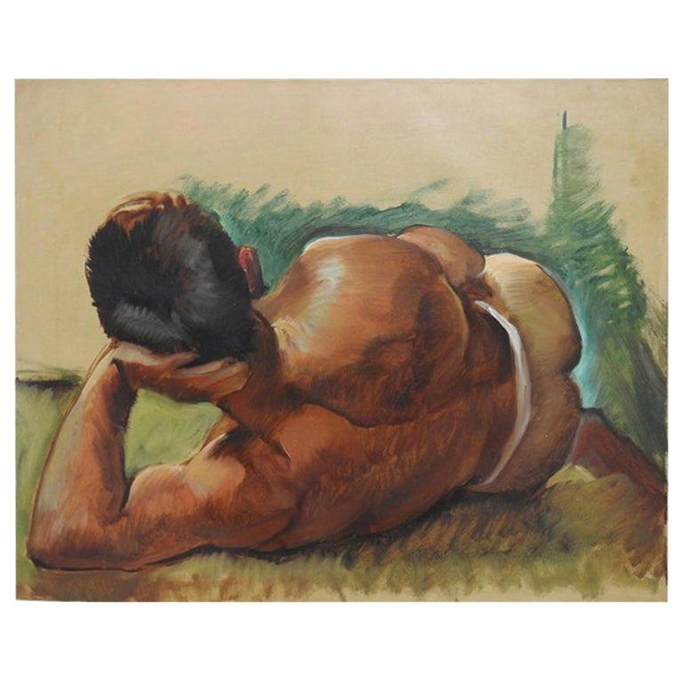 """Robert Whitmore """"Male at Rest"""" Oil Painting, Early 20th Century"""