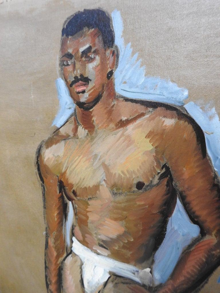 This is an exquisite oil painting on unstretched canvas by listed artist Robert Whitmore (American; 1890-1979), dated early to mid-20th century. The piece depicts the gestural portrait of a partially nude male figure standing in a subtle
