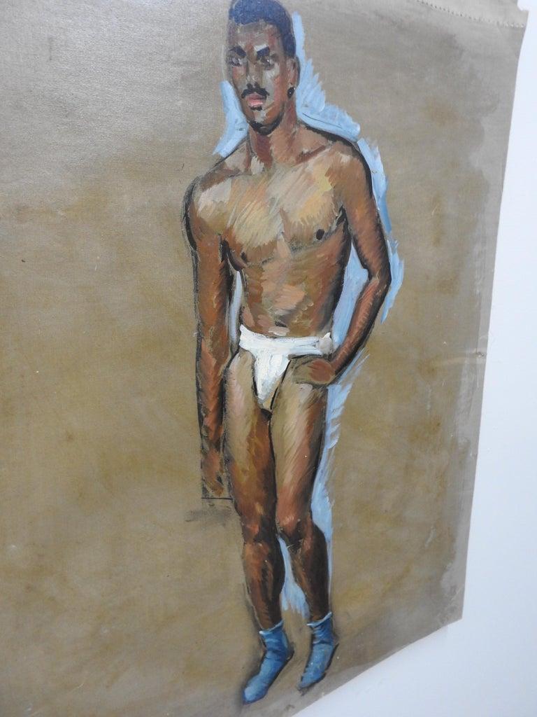 Folk Art Robert Whitmore Oil Painting of Male Model For Sale