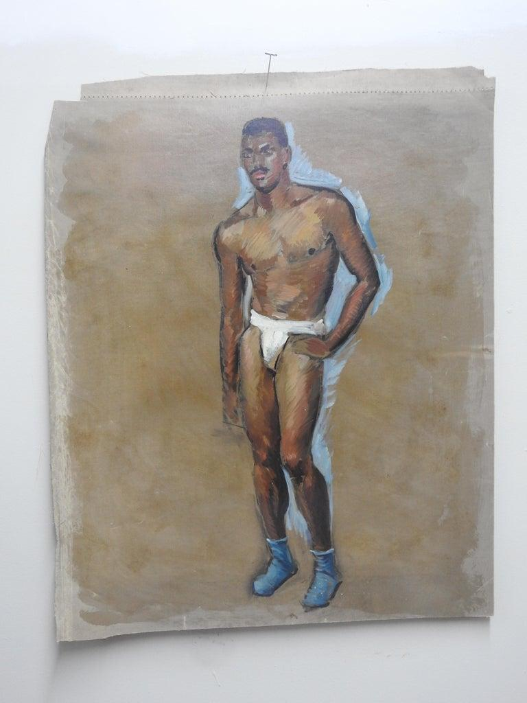 American Robert Whitmore Oil Painting of Male Model For Sale