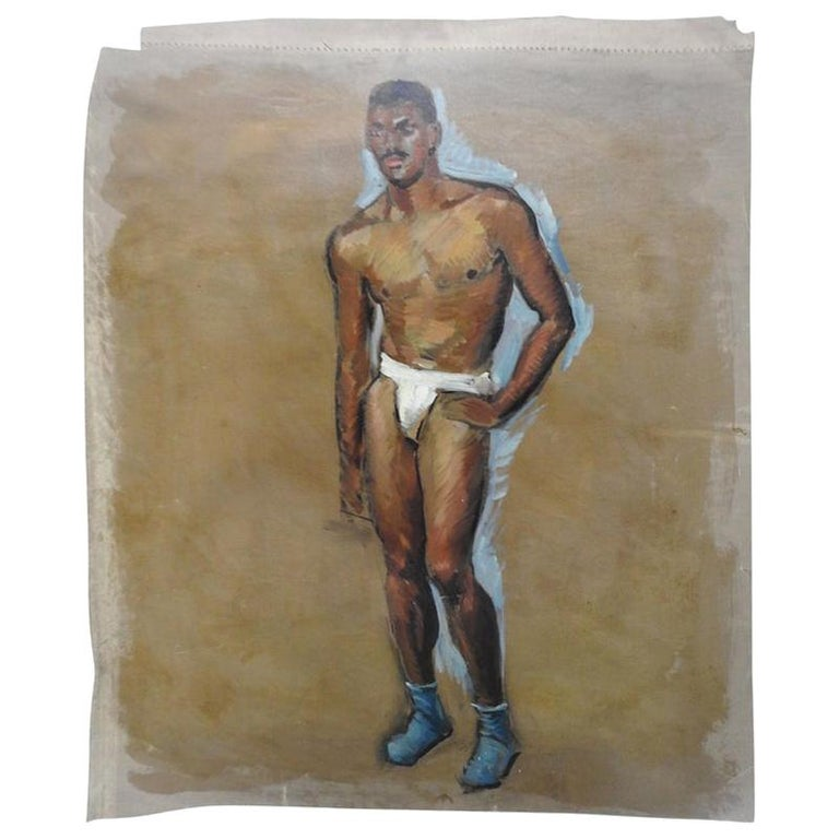 Robert Whitmore Oil Painting of Male Model For Sale