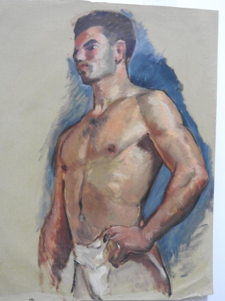 Hand-Painted Robert Whitmore Oil Painting Titled Male Portrait For Sale