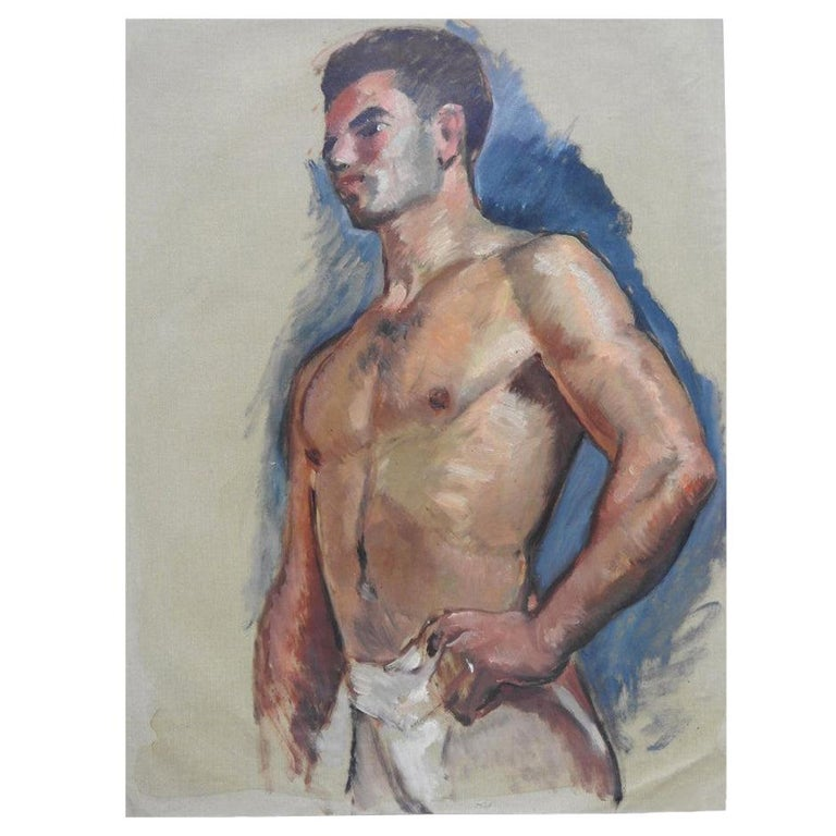 Robert Whitmore Oil Painting Titled Male Portrait For Sale