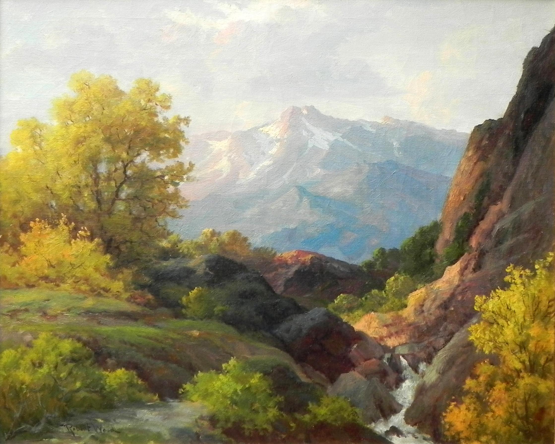 """Topanga Canyon"", Robert Wood, Original Oil on Canvas, Landscape, 25x30 in."