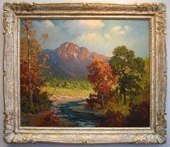 """Sierras""  Circa 1930s California Landscape in Newcomb Macklin Frame"