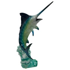 Robert Wyland Lucite Marlin Saifish Fish Sculpture