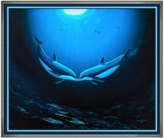 Robert Wyland Original Oil Painting On Canvas Large Signed Dolphins Reef Sealife