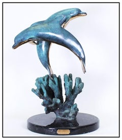 Robert Wyland Large Dolphin Bronze Sculpture Signed Children Of The Sea Artwork