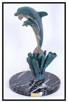 Robert Wyland Ocean Child Bronze Sculpture Signed Dolphin Marine Wildlife Animal