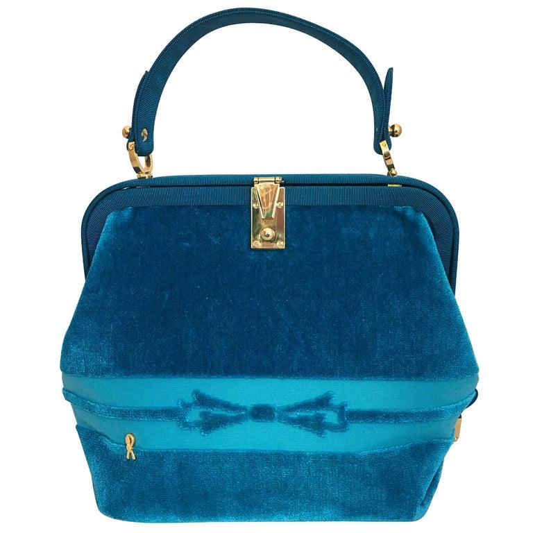 Roberta di Camerino turquoise velvet handbag, 1990s, offered by Catwalk