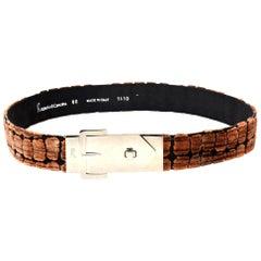 Roberta di Camerino Black & Brown Cut Velvet and Silver Plate Buckle Waist Belt