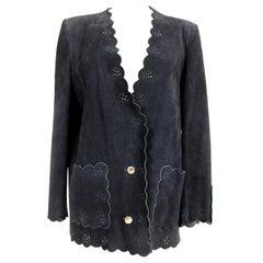 Roberta di Camerino Blu Leather Suede Jacket 1980s