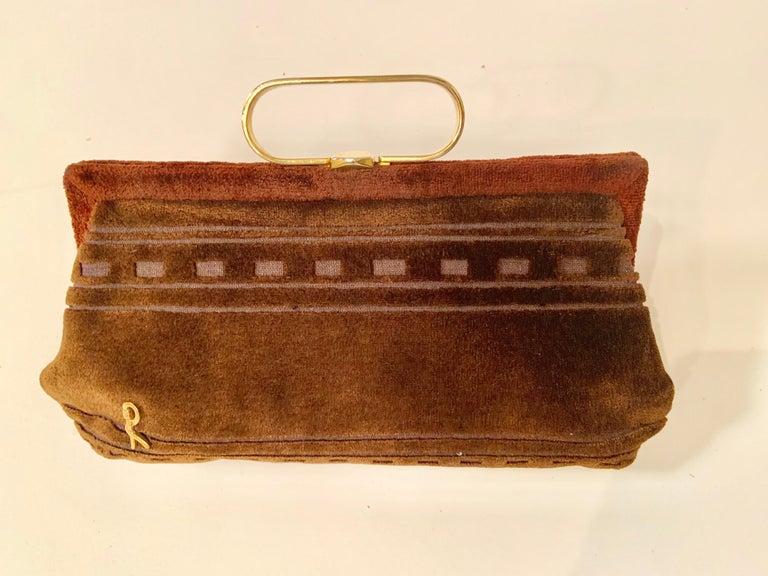 Roberta di Camerino Brown Velvet Clutch Shoulder Bag or Top Handle Bag For Sale 8