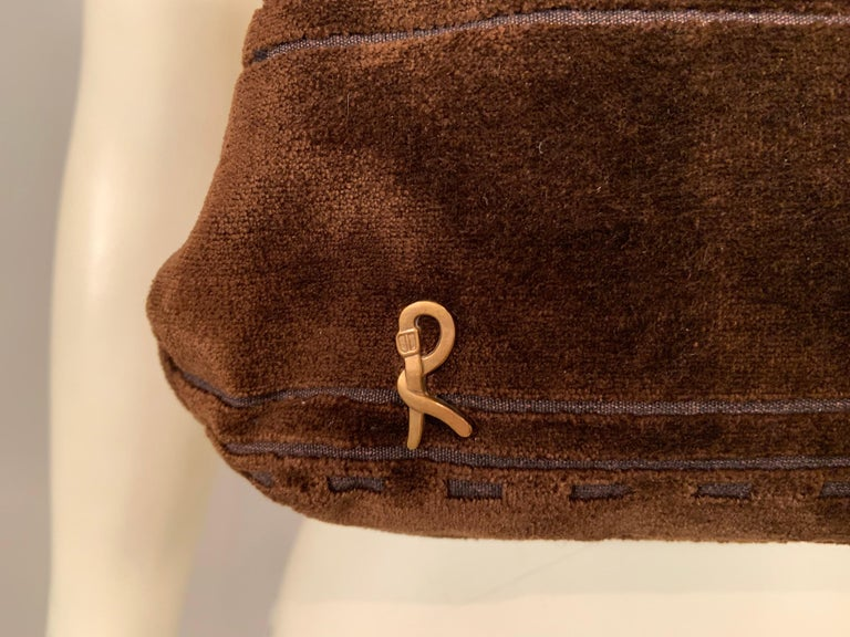 Roberta di Camerino Brown Velvet Clutch Shoulder Bag or Top Handle Bag For Sale 1