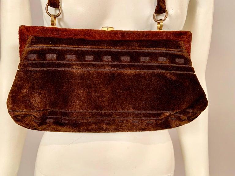 Roberta di Camerino Brown Velvet Clutch Shoulder Bag or Top Handle Bag For Sale 2