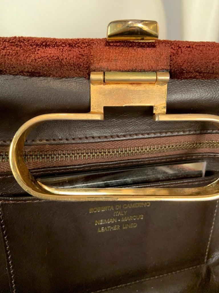 Roberta di Camerino Brown Velvet Clutch Shoulder Bag or Top Handle Bag For Sale 4