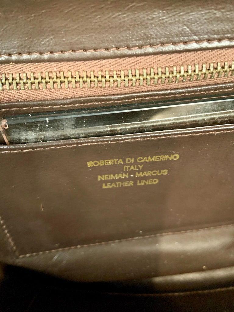 Roberta di Camerino Brown Velvet Clutch Shoulder Bag or Top Handle Bag For Sale 5