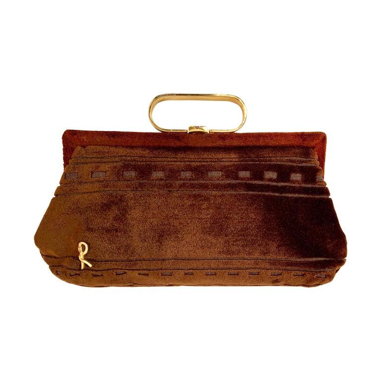 Roberta di Camerino Brown Velvet Clutch Shoulder Bag or Top Handle Bag For Sale