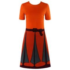 ROBERTA di CAMERINO c.1970's Trompe L'oeil Short Sleeve Sheath Dress