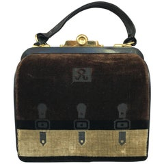 Roberta di Camerino Chocolate Colored Velvet Handbag with Key, Circa 1960