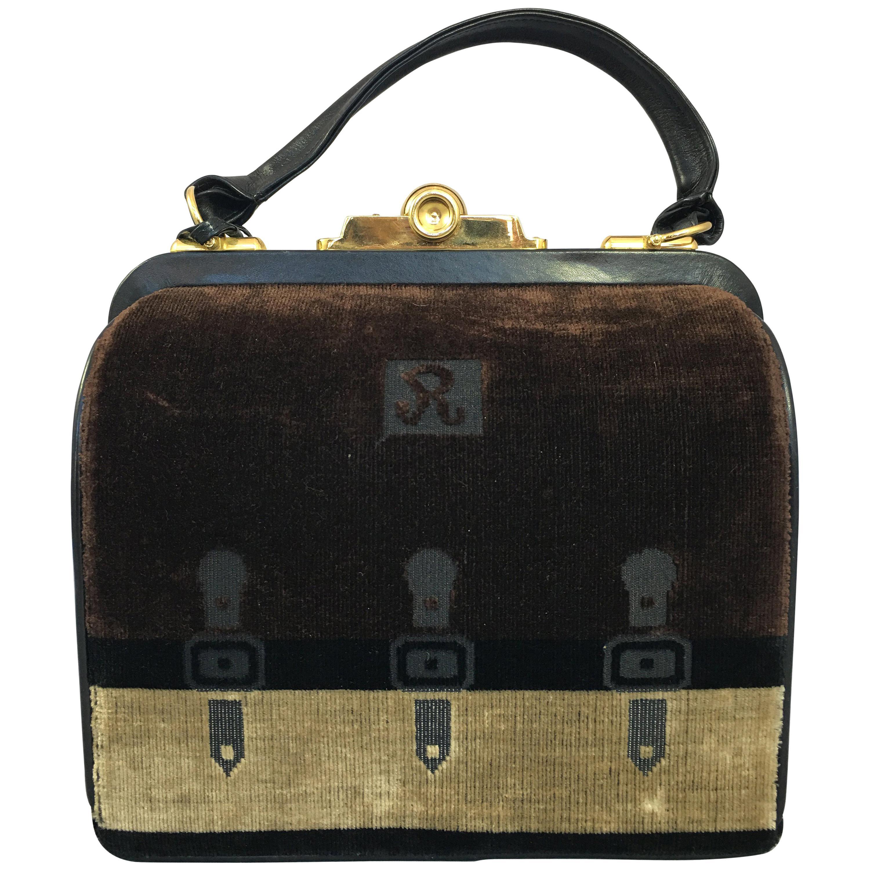 Roberta di Camerino Chocolate Colored Velvet Handbag with Key, Circa 1960
