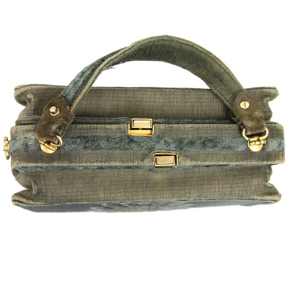 1stdibs Roberta Di Camerino Green Canvas Vintage Bag, 1960s