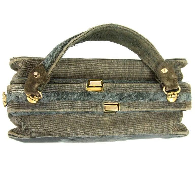 Gray Roberta Di Camerino Green Canvas Vintage Bag, 1960s For Sale