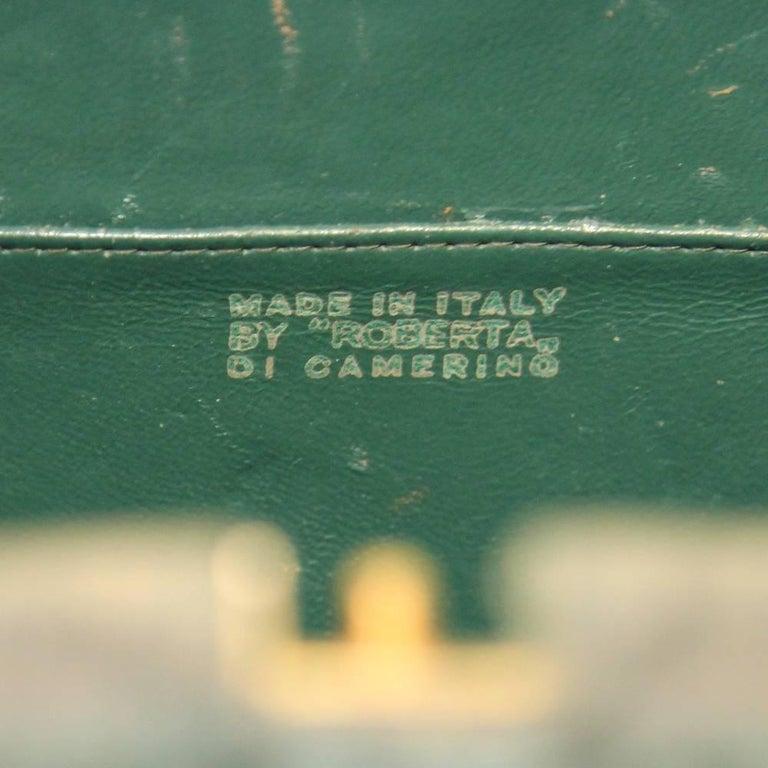 Roberta Di Camerino Green Canvas Vintage Bag, 1960s For Sale 1