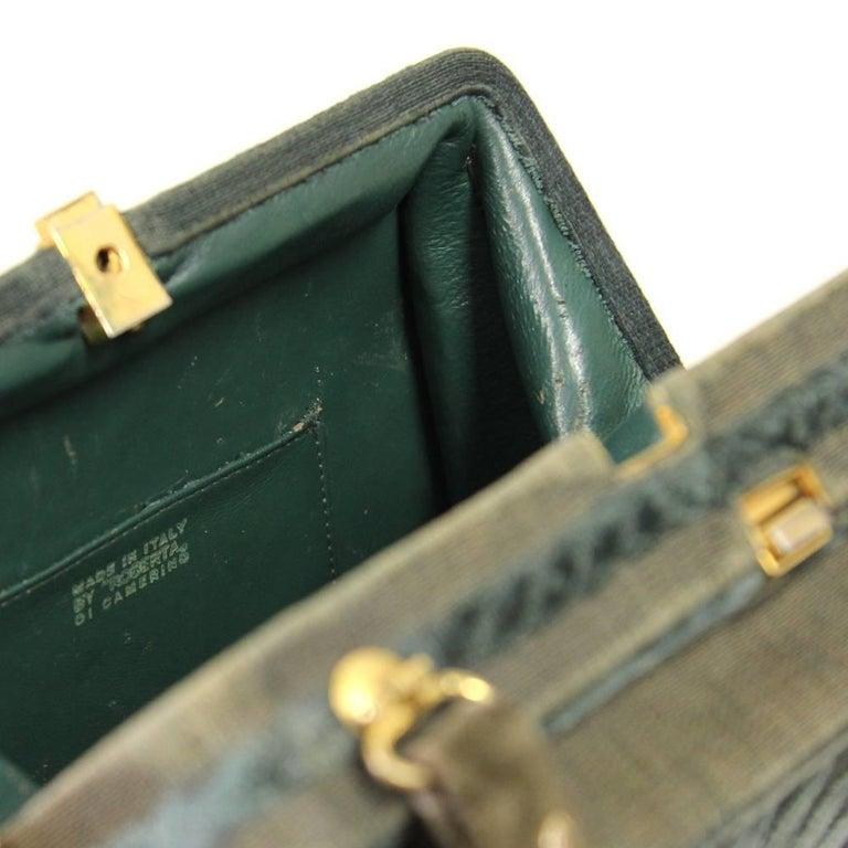 Roberta Di Camerino Green Canvas Vintage Bag, 1960s For Sale 2