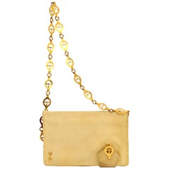 Roberta di Camerino Leather Suede Beige Golden Chain Strap Shoulder Bag 1990s