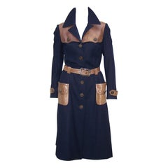 Roberta Di Camerino Navy Blue Wool & Leather Trench Coat, C.1970