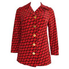 Roberta di Camerino Red Velvet Jacket Blazer w/Chain Motif