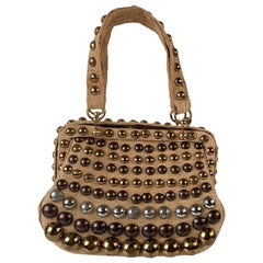 Roberta Di Camerino Vintage Beige Straw Studded Frame Bag Handbag