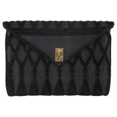 Roberta Di Camerino Vintage Black Cut Velvet Clutch Bag Handbag