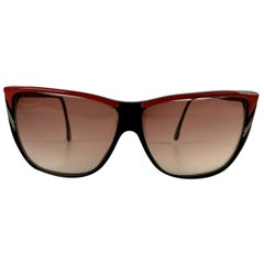 Roberta di Camerino Vintage Black Red Square Sunglasses R56
