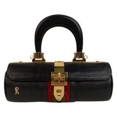 Roberta Di Camerino Vintage Blue Leather Cylinder Shoulder Bag