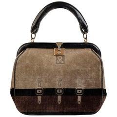 Roberta Di Camerino Vintage Brown Beige Cut Out Velvet Framed Handbag