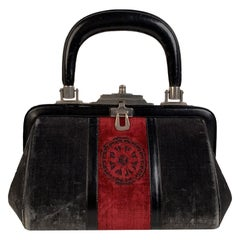 Roberta Di Camerino Vintage Gray Red Velvet Bagonghi Doctor Bag