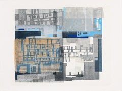 Complementary Blocks - Abstract Print in Blue White Orange