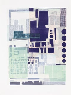 Feminine Spaces - Abstract Print in Purple Blue and White Circles Squares