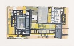 Midcentury Blocks - Abstract Print in Navy Yellow Peach Mid Mod Inspired