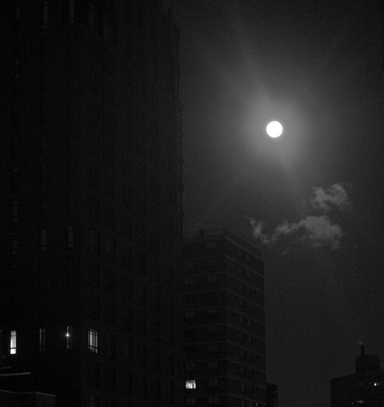 Chiaroscuro Snow Moon, New York City, Contemporary Landscape Photography - Black Black and White Photograph by Roberta Fineberg