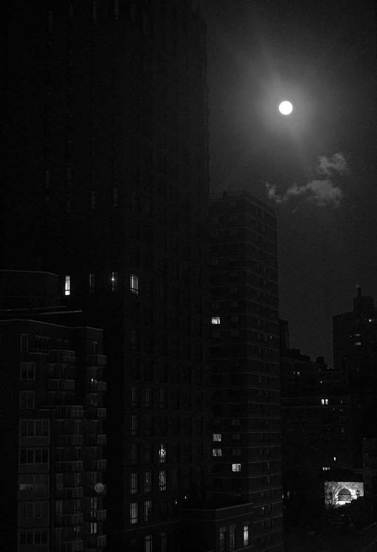 Roberta Fineberg Black and White Photograph - Chiaroscuro Snow Moon, New York City, Contemporary Landscape Photography
