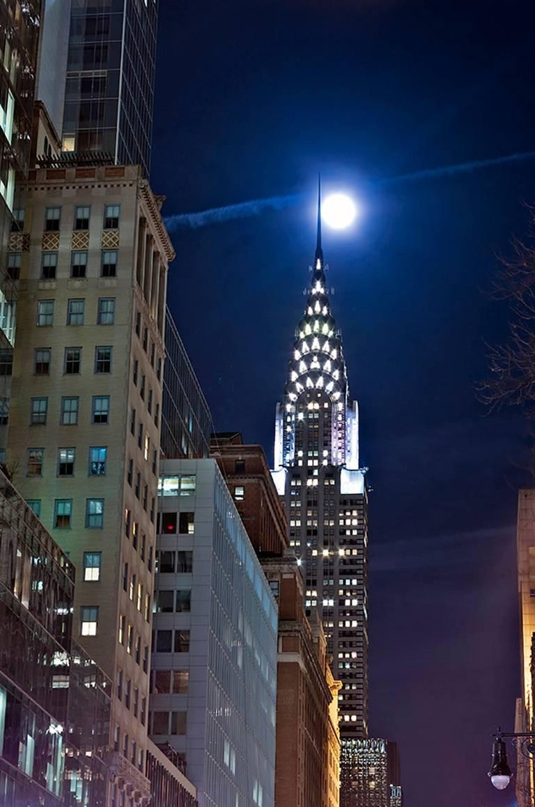 Roberta Fineberg Landscape Photograph - Full Moon, Chrysler Building, Contemporary Color Night Photo of NYC Architecture