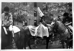 Girls in Costumes on Horses, New York, Black and White Portrait Photography